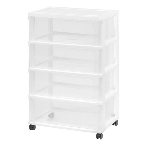 21.25 in. x 33.81 in. White Plastic Storage Cart with 4-Drawers