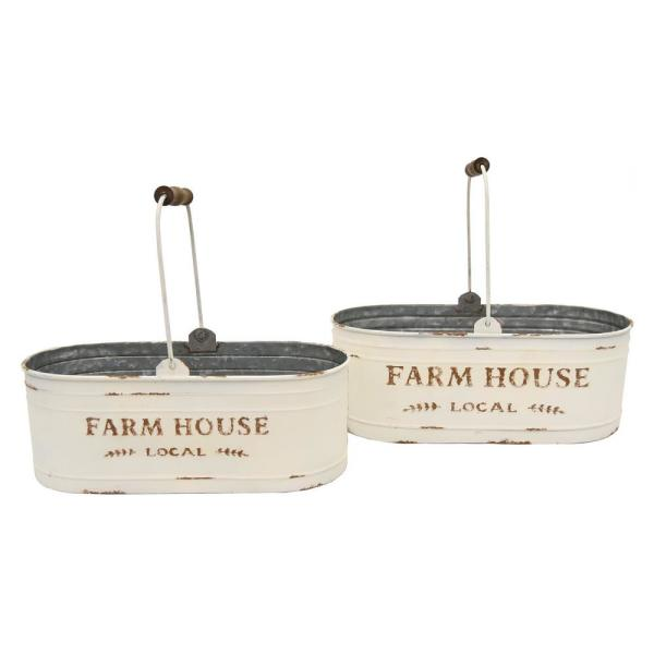 THREE HANDS 17.8 in. x 8.5 in. Metal Storage Containers in White (Set of 2)