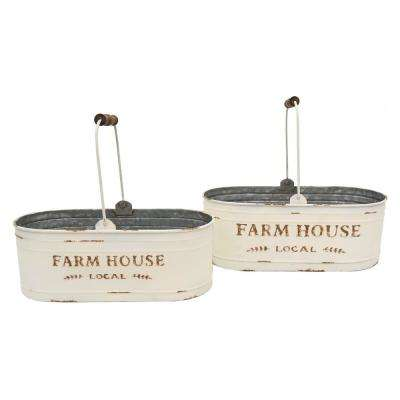 17.8 in. x 8.5 in. Metal Storage Containers in White (Set of 2)
