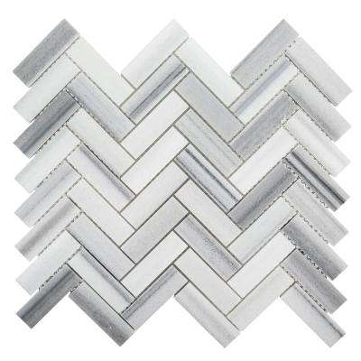 Zebra Plains 11 in. x 12-3/4 in. x 10 mm Marble Mosaic Tile