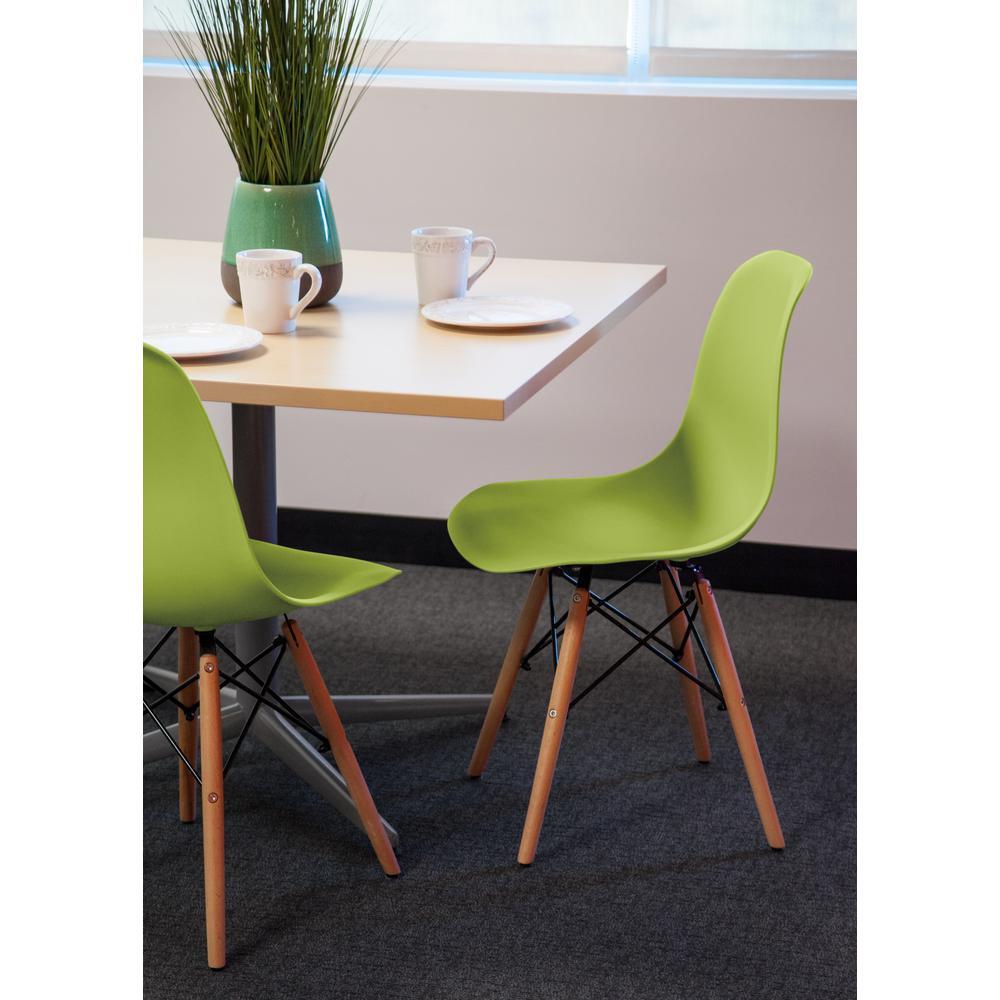 Light Green Plastic Shell Chair (Set of 2)