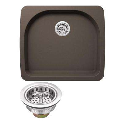 Drop-In Granite Composite 22 in. 2-Hole Single Bowl Kitchen Sink in Mocha Brown