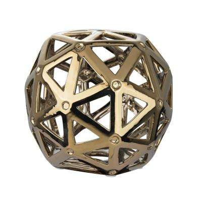 6 in. x 7 in. Gold Plated Perforated Multi-Hexagonal Decorative Orb