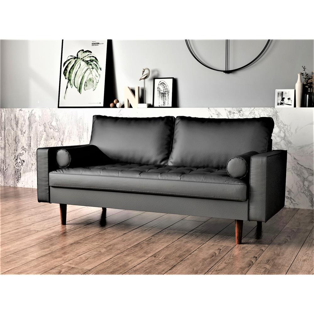 Lincoln Black Tufted Seat Sofa S5452 S