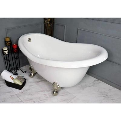 60 in. AcraStone Acrylic Slipper Clawfoot Non-Whirlpool Bathtub in White with Large Ball and Claw Feet in Satin Nickel