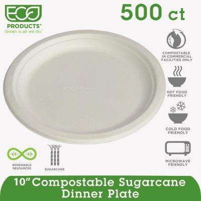 10 in. Compostable Sugarcane Dinnerware Plate in Natural White