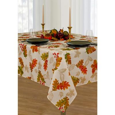 52 in. W x 52 in. L Ivory Swaying Leaves Allover Print Fall Tablecloth