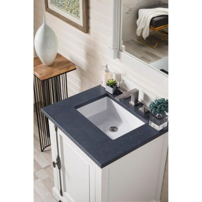 Providence 26 in. Single Bath Vanity in Cottage White with Quartz Vanity Top in Charcoal Soapstone with White Basin