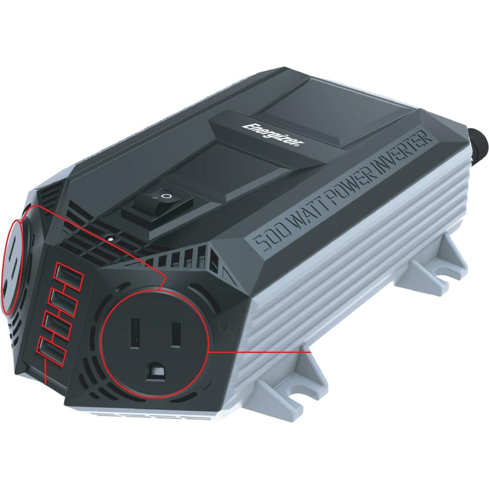 Energizer EN548 500-Watt Power Inverter 12V DC to AC Plus 4 x 2.4A USB charging ports Total 9.6 Amps