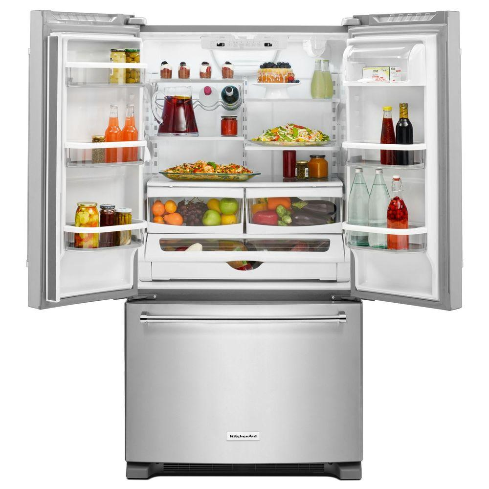KitchenAid 20 cu. ft. French Door Refrigerator in Stainless Steel, Counter  Depth