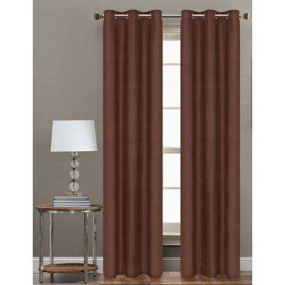84 in. L Polyester Form Blackout Grommet Curtain Panel in Chocolate (Set of 2)