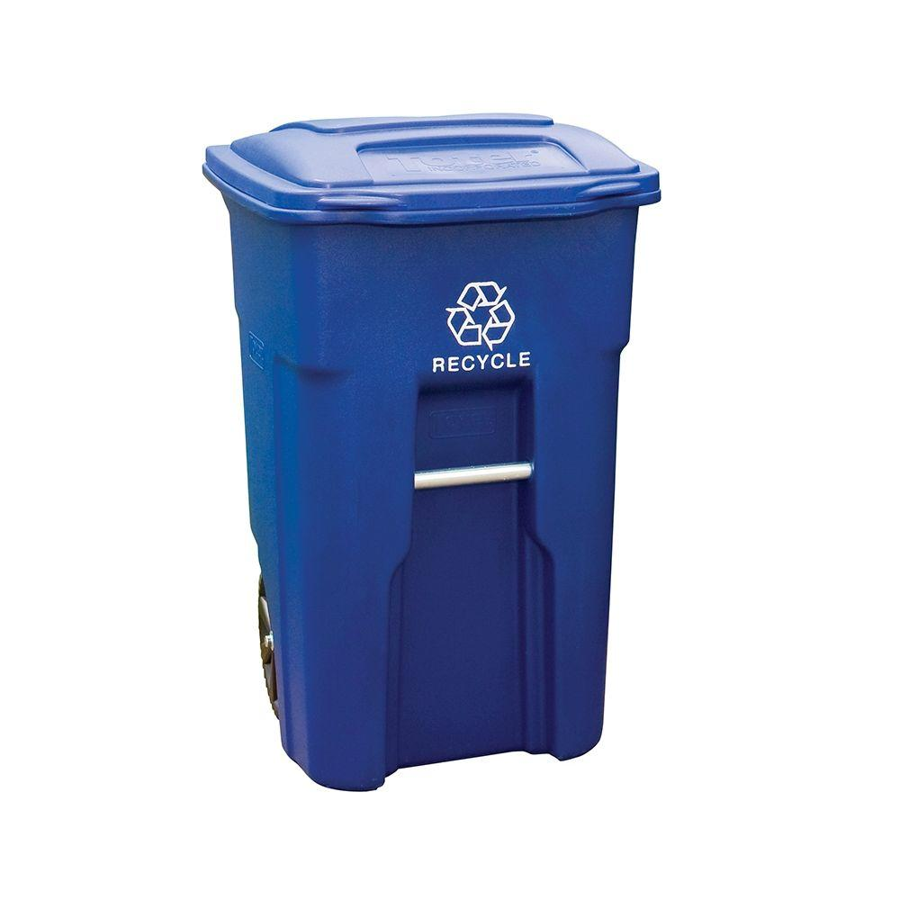 Toter 48 Gal. Rollout Recycling Container with Attached Lid
