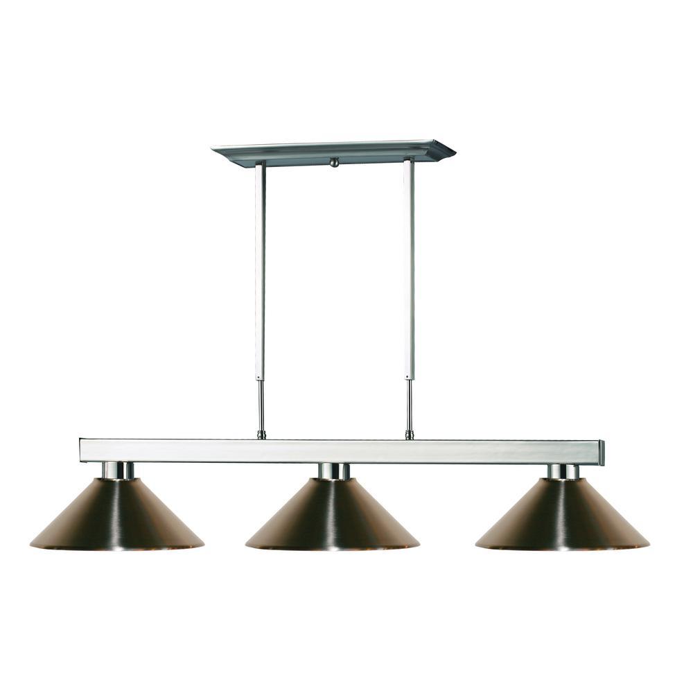 Filament Design Vera 3-Light Brushed Nickel Billiard Light