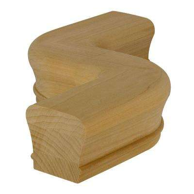 7247 Unfinished Poplar Right-Hand S Hand Rail Fitting with 5 in. Centerline