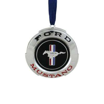 3 in. Officially Licensed Black and Red Ford Mustang in. GT Logo Silver Plated Christmas Tree Ornament