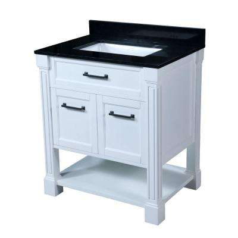 Hailey 30.5 in. W x 22 in. D Vanity in White with Granite Vanity Top in Black with White Basin