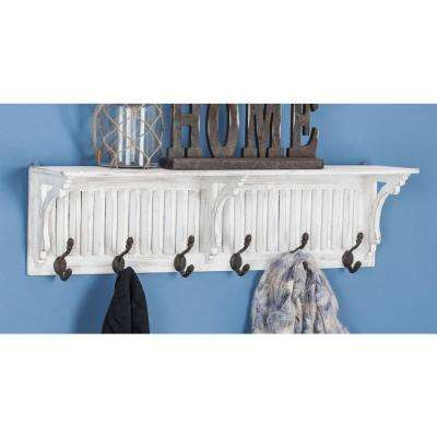 36 in. x 10 in. White and Black Iron Shelf Wall Hook