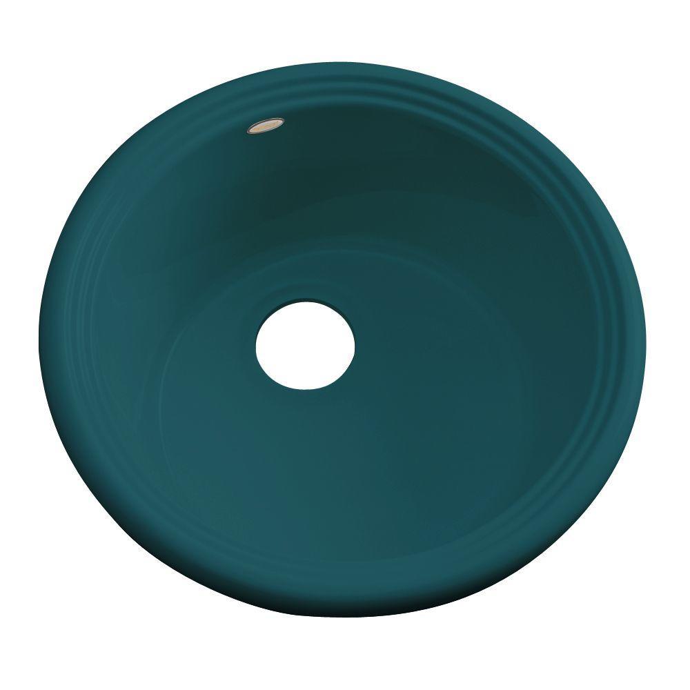 Hampton Drop-In Acrylic 18 in. Single Bowl Entertainment Sink in Teal