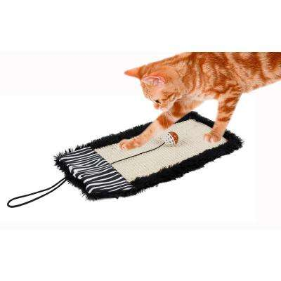 Black Scrape-Away' Eco-Natural Sisal and Jute Hanging Carpet Cat Scratcher with Toy