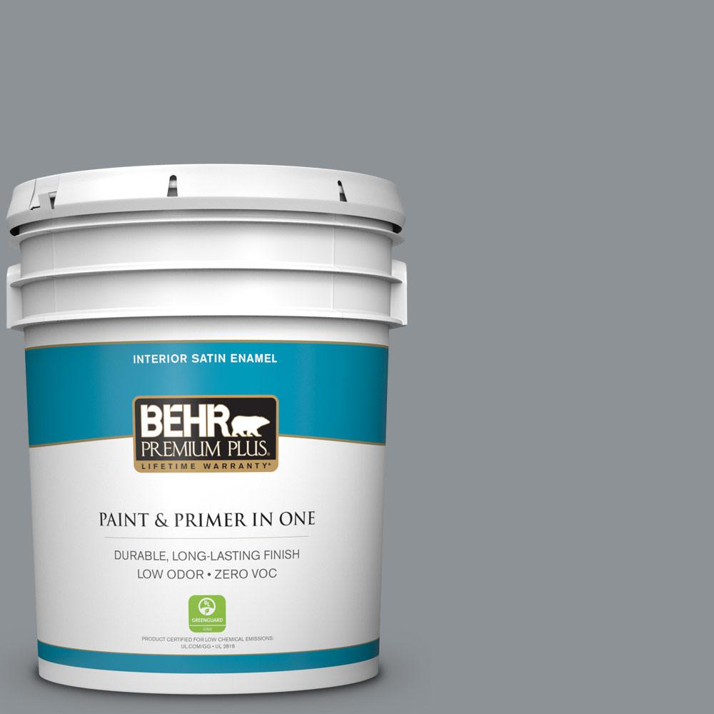 5 gal. #PPU26-05 Flint Gray Zero VOC Satin Enamel Interior Paint