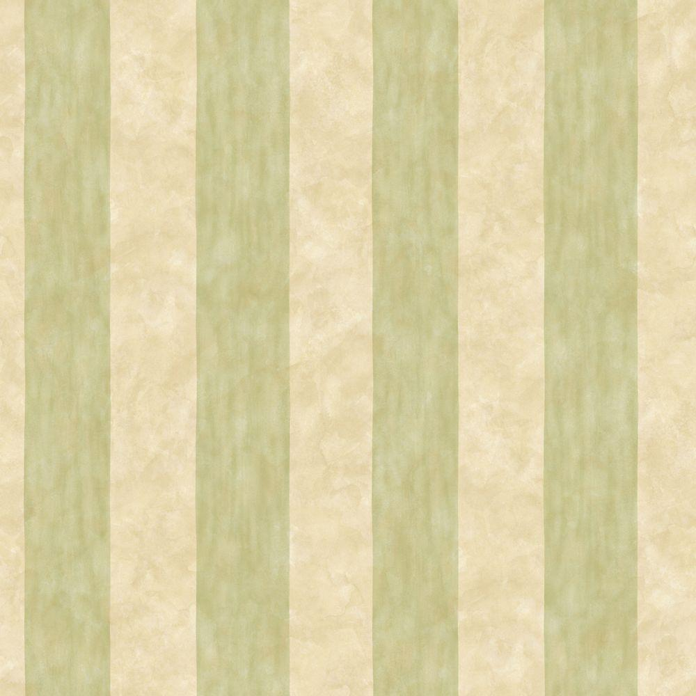 The Wallpaper Company 56 sq. ft. Green and Beige Wash Stripe Wallpaper