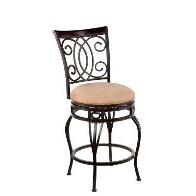 Jerry 25 in. Dark Champagne Swivel Cushioned Bar Stool