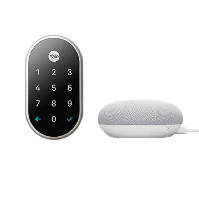 Nest x Yale Lock in Satin Nickel with Google Home Mini Chalk