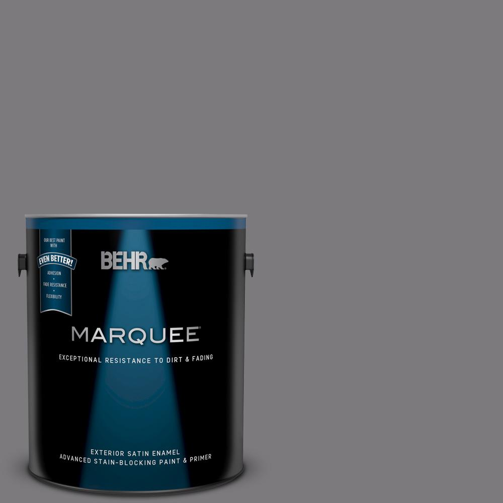BEHR MARQUEE 1 gal  #BXC-58 Stormy Gray Satin Enamel Exterior Paint and  Primer in One
