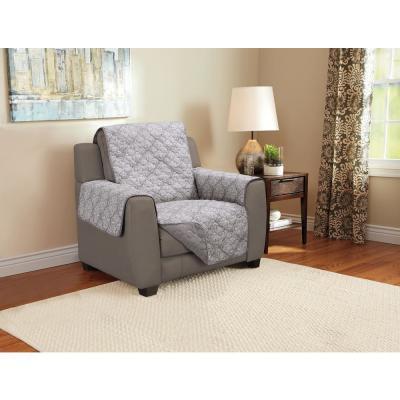 Medallion 1-Piece Gray Microfiber Relaxed Fit Chair Furniture Protector