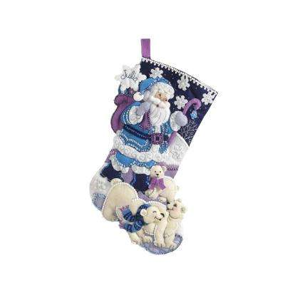 18 in. Felt Stocking Kit-Artic Santa