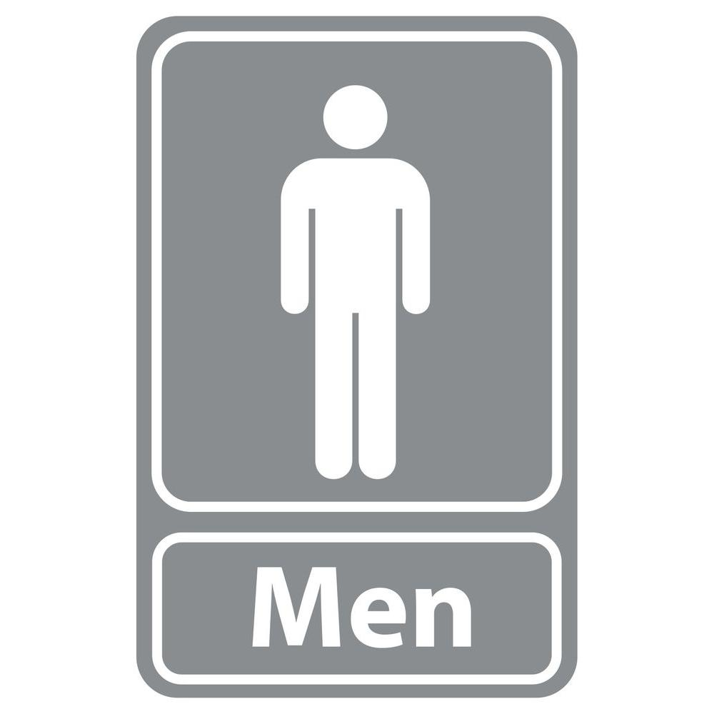 Rectangular Plastic Grey Men Restroom Sign Pse 0055 The