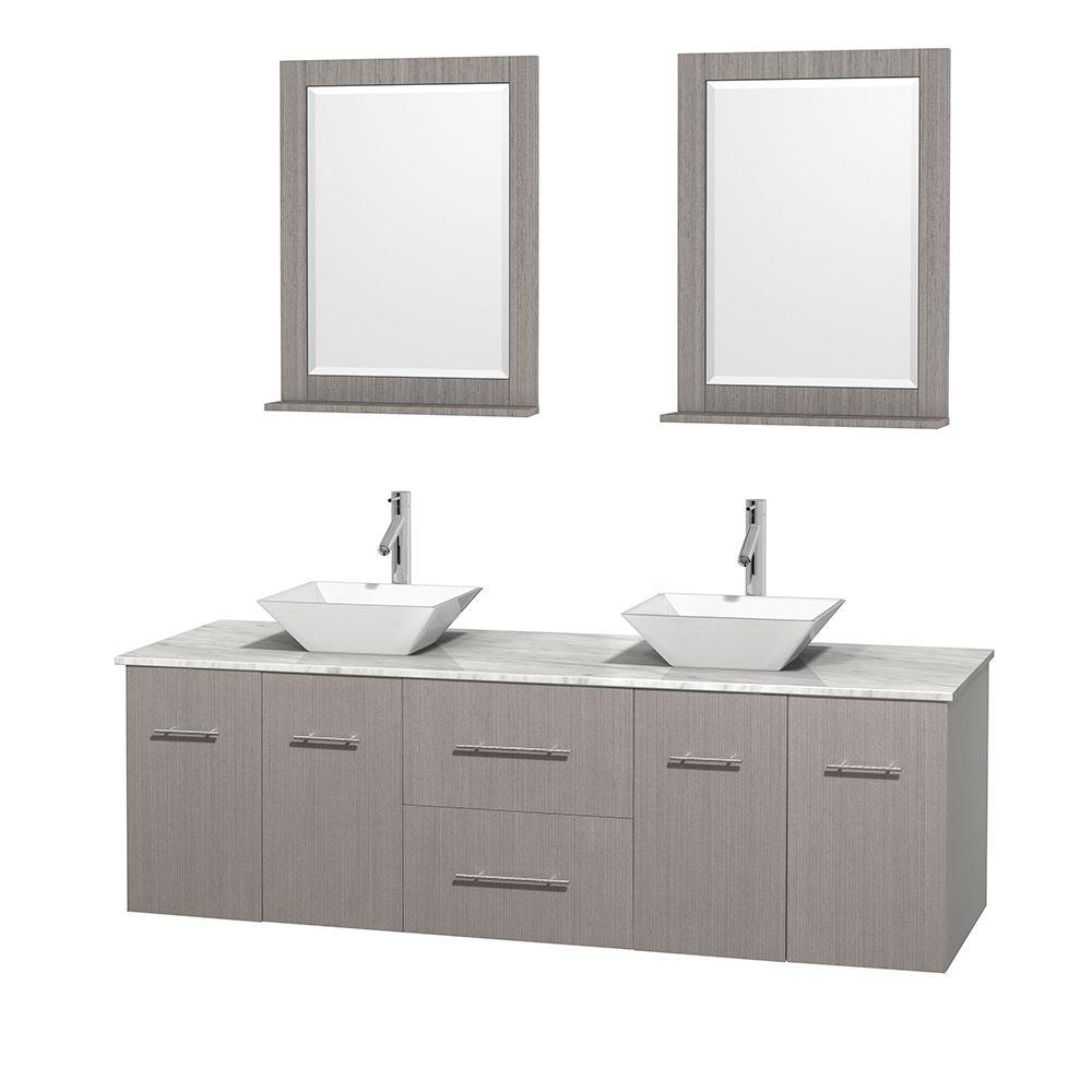 Wyndham Collection Centra 72 in. Double Vanity in Gray Oak with Marble Vanity Top in Carrara White, Porcelain Sinks and 24 in. Mirrors