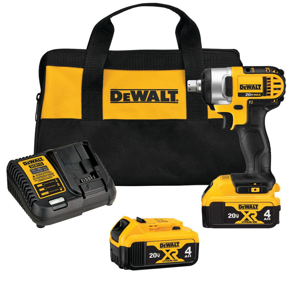 DEWALT 20-Volt MAX Lithium-Ion Cordless 1/2 in. Impact Wrench Kit with (2) Batteries 4Ah, Charger and Case