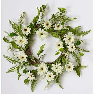 22 in. White Daisy Wreath On Natural Twig Base