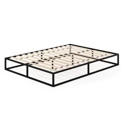 Monaco Queen Metal Bed Frame Foundation with Wooden Slats