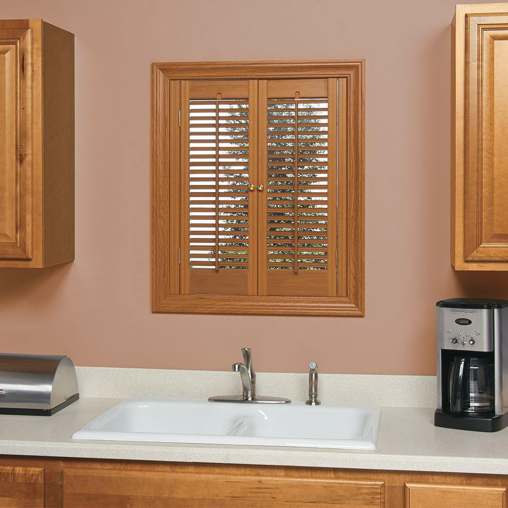 Homebasics Plantation Faux Wood Oak Interior Shutter Price Varies By Size Qspb3536 The Home