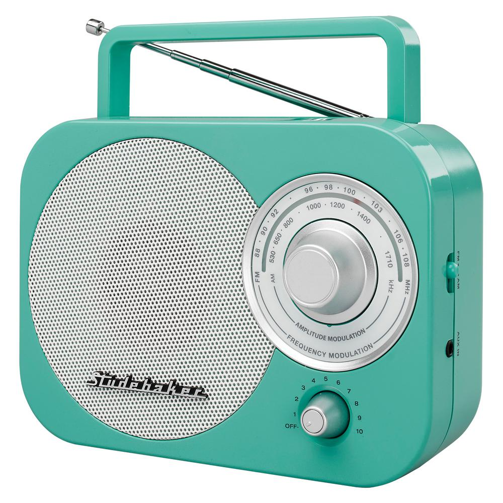 Studebaker Portable AM/FM Radio in Teal-SB2000TE - The Home Depot