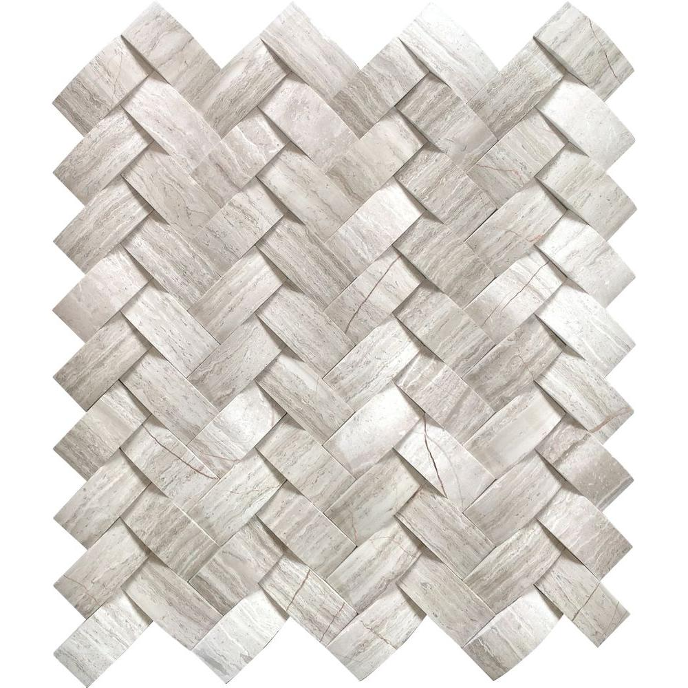 MSI Mystic Cloud Arched Herringbone 12 in. x 12 in. x 10mm Honed Marble Mesh-Mounted Mosaic Wall Tile