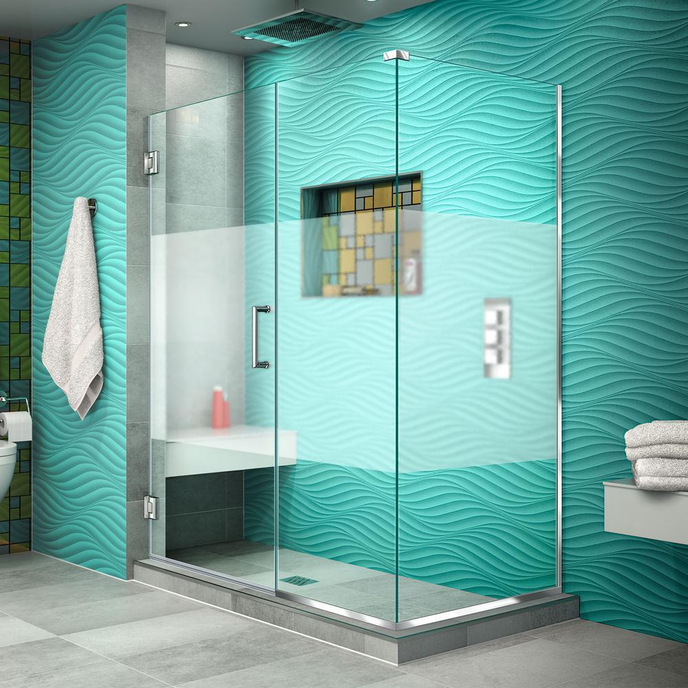 DreamLine Unidoor Plus 30-3/8 in. x 51-1/2 in. x 72 in. Semi-Frameless Hinged Corner Shower Enclosure in Chrome