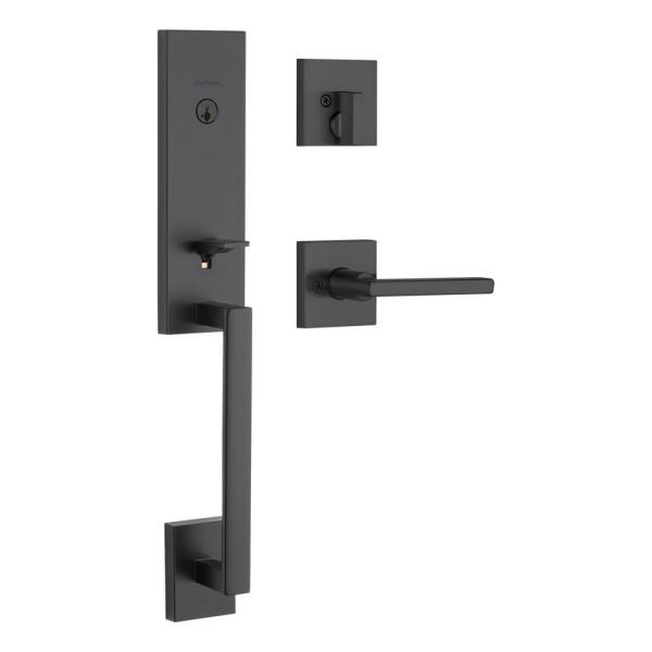 Vancouver Matte Black Single Cylinder Low Profile Handleset with Halifax Lever Featuring SmartKey Security