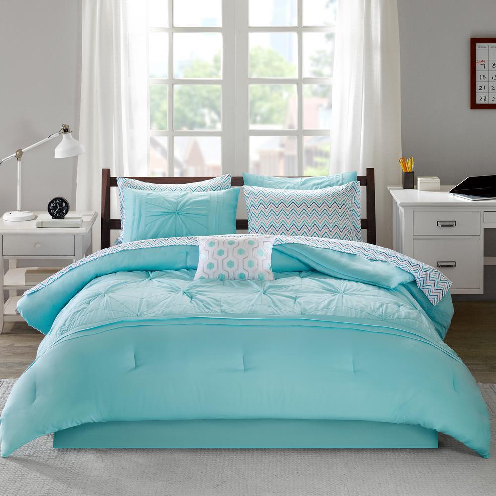 Intelligent Design Devynn 7 Piece Aqua Twin Comforter Set Id10 1232 The Home Depot