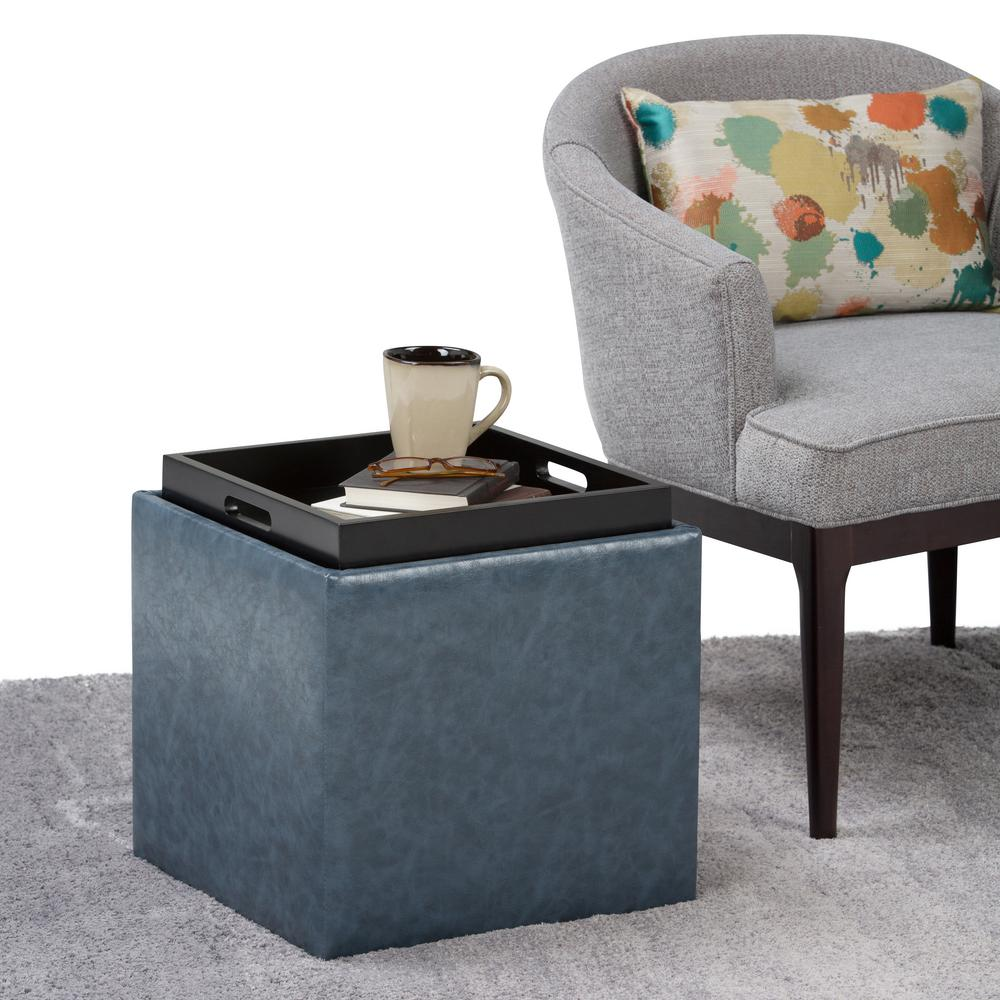 Attrayant Simpli Home Rockwood Denim Blue Storage Ottoman