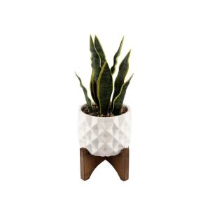 Deals on Flora Bunda 12.5-in Faux Snake Plant in Ceramic Pot w/Wood Stand