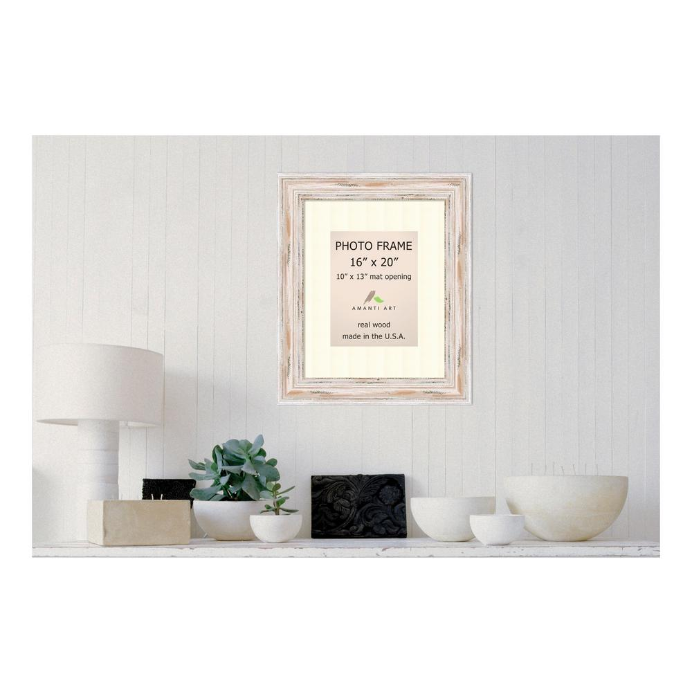 Amanti Art Alexandria 10 in. x 13 in. White Matted Whitewash Picture ...