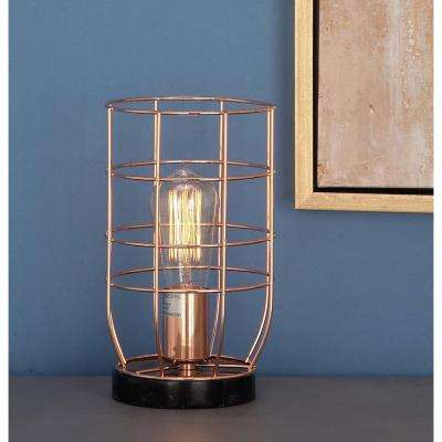 6 in. x 10 in. Modern Cage Body Metal Accent Light in Rose Gold