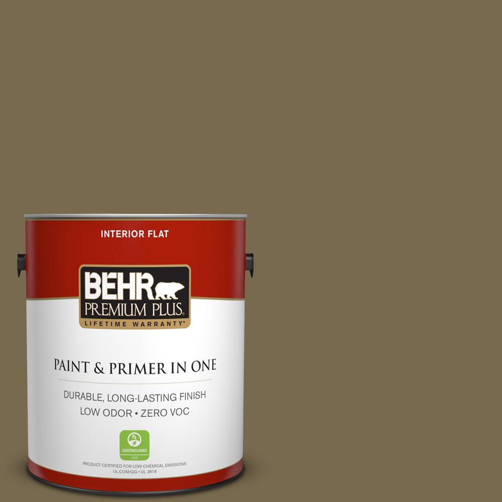BEHR Premium Plus 1-gal. #750D-6 Lemon Pepper Zero VOC Flat Interior Paint