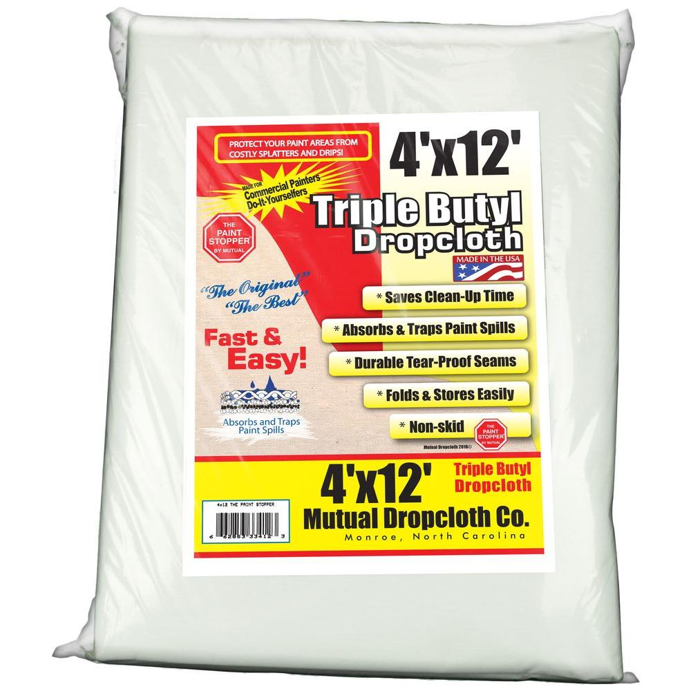 white triple coated butyl drop cloth