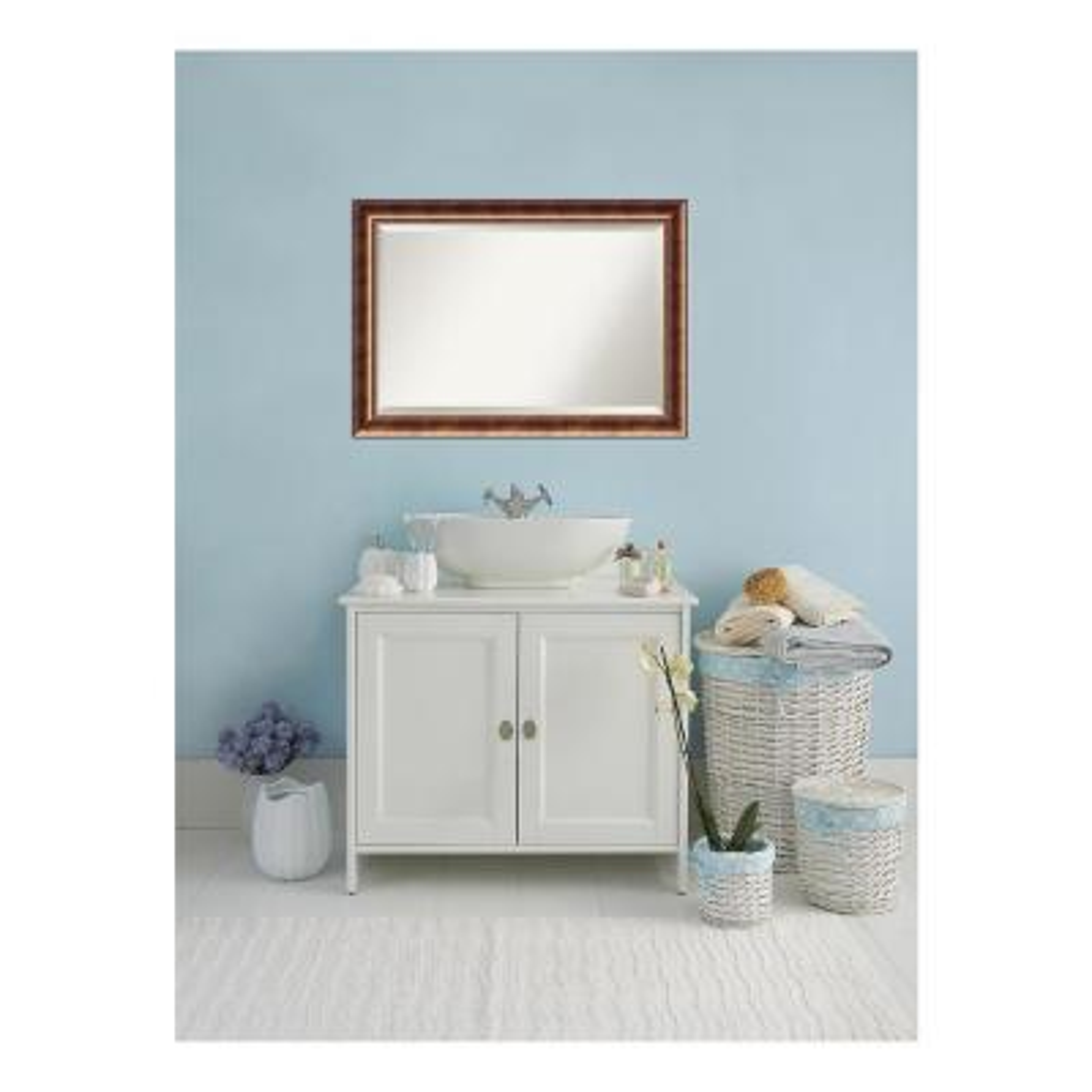 Manhattan Burnished Bronze Wood 42 in. W x 30 in. H Single Contemporary Bathroom Vanity Mirror