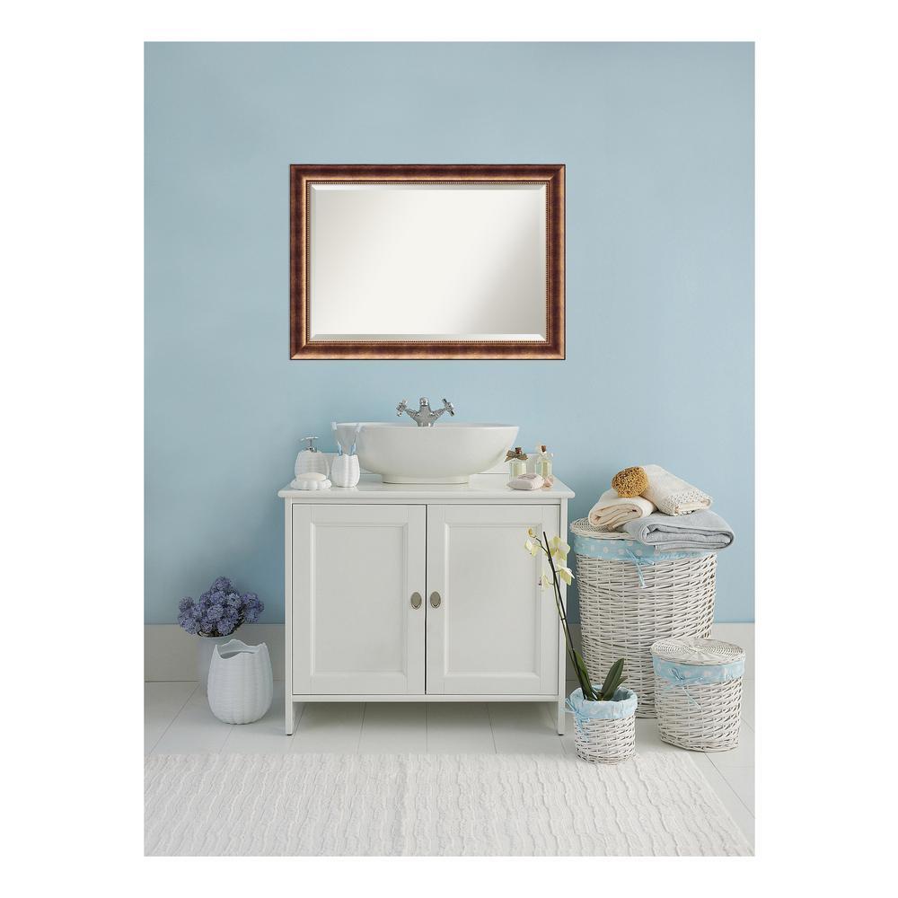 Manhattan 42 in. W x 30 in. H Framed Rectangular Beveled Edge Bathroom Vanity Mirror in Burnished Bronze