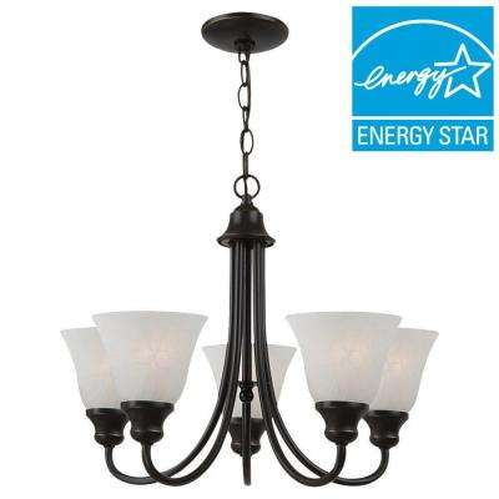 Classic white energy star chandeliers lighting the home depot windgate 5 light heirloom bronze 1 tier chandelier aloadofball Image collections